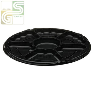 "16"" Dia. Blk Plastic SmartLock 6 Comp Tray 50 Per Case-Golden Supplies Ltd"