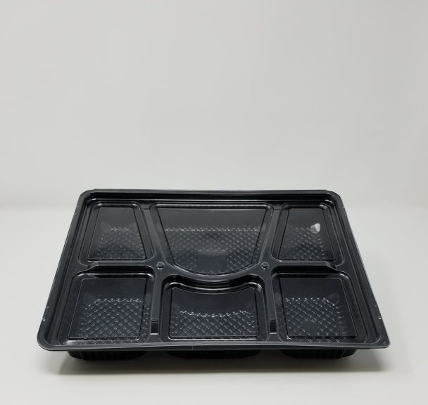 6 Comp Blk Thali Container With Clear Dome Lid 100 Pcs