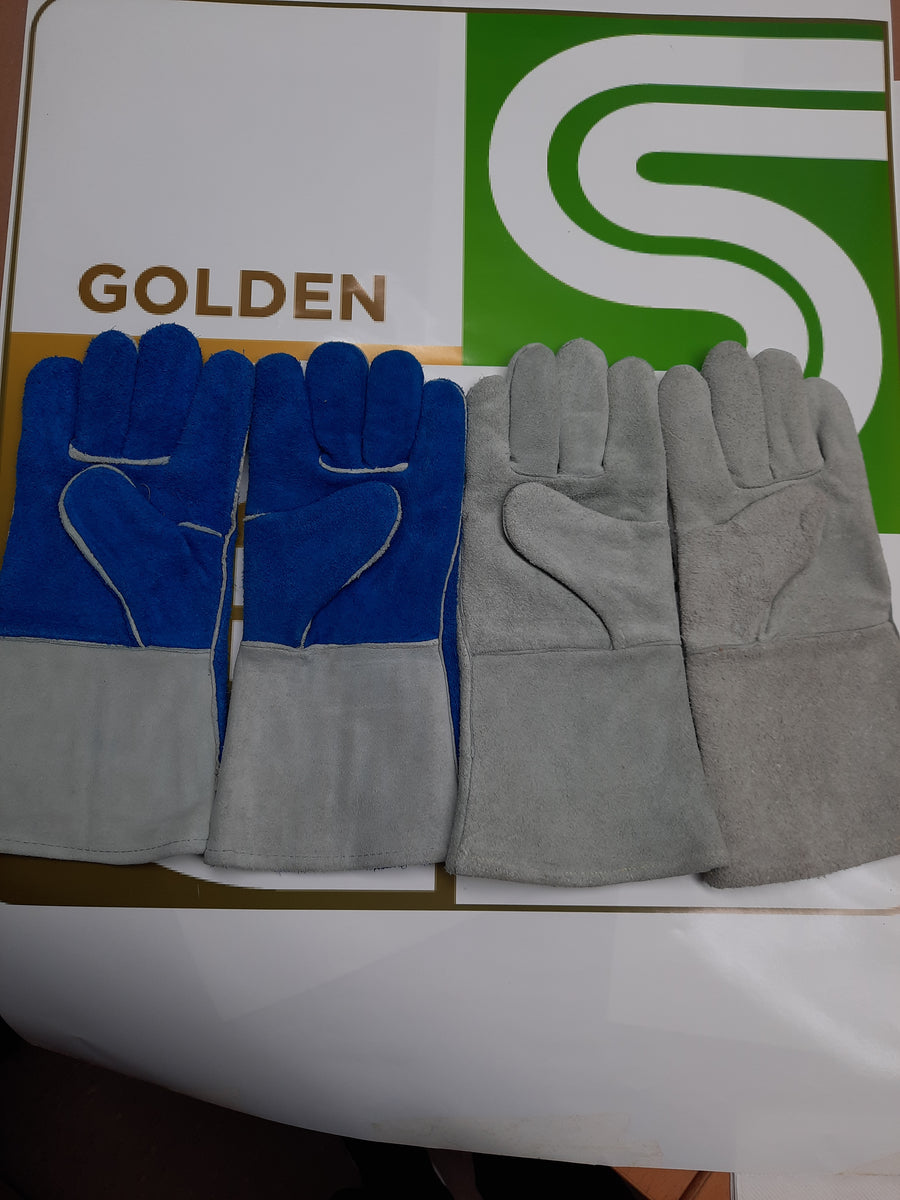 Leather 5 Fing Welders Gloves 1 Pair