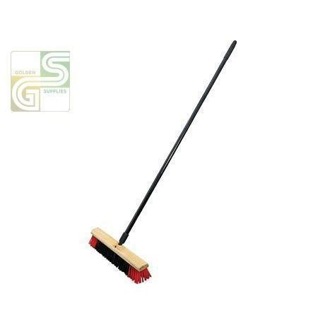 "18""/45 Cm Medium Black & Red Push Broom With 54""/137 Cm Metal Handle-Golden Supplies Ltd"