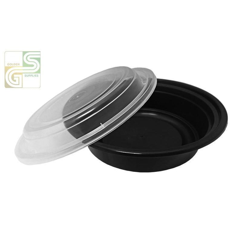 "7"" (24oz) Round Blk Cont W/clear Lids Combo 50/cs-Golden Supplies Ltd"