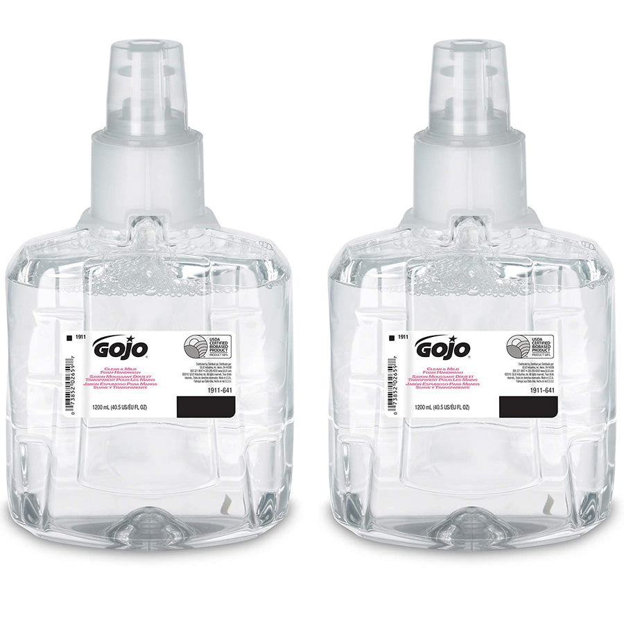 Gojo 1911-02 Clear & Mild Foam Handwash 1200ml x 2 Jugs In 1 Box