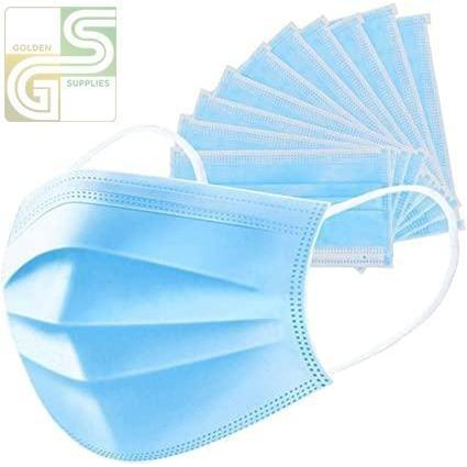 Blue Disposable Earloop 3-Ply Face Mask 50 Pcs x 1 Box=50 Pcs-Golden Supplies Ltd
