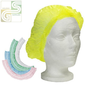 Hair Nets Blue Pleated 100 Pcs x 1 Bag=100 Pcs-Golden Supplies Ltd