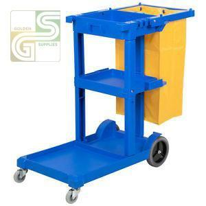 Janitors Cart With Wheels & Yellow Bag-Golden Supplies Ltd