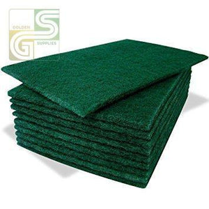 "Premium Green Scouring Pads 6"" X 9"" X .3"" 10 Pcs-Golden Supplies Ltd"