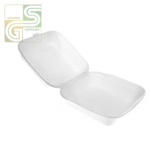 "Sq7 White Foam Square Sandwich Containers (6.3"" X 6.1"" X 2.7"") 500 Pcs-Golden Supplies Ltd"