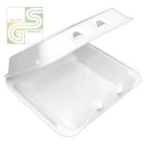 "Yhlw-0801 White Foam One Compartment Containers (8""*8 1/2""*3"") 150 Pcs-Golden Supplies Ltd"