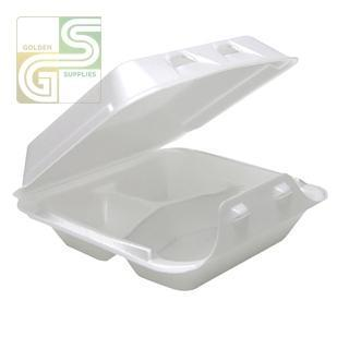 "Yhlw-0803 White Foam Three Compartment Containers (8""*8 1/2""*3"") 150 Pcs-Golden Supplies Ltd"
