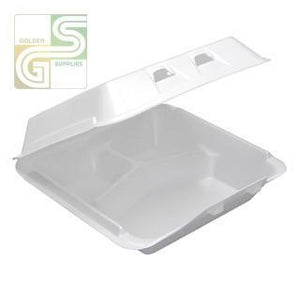 "Yhlw-0903 White Foam Three Compartment Containers (9""*9 1/2""*3 1/4"") 150 Pcs-Golden Supplies Ltd"