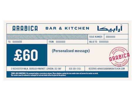 £60 Arabica Bar & Kitchen gift voucher
