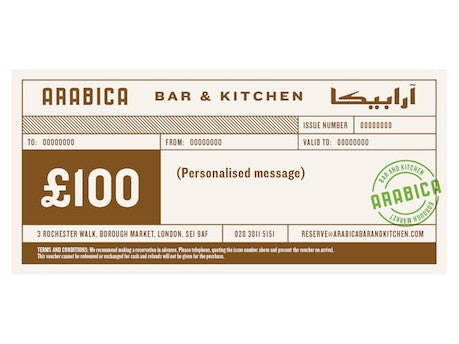 £100 Arabica Bar & Kitchen gift voucher