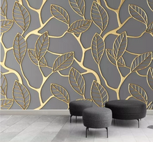 Load image into Gallery viewer, 3D Wallpaper Embossed Golden Leaves Mural