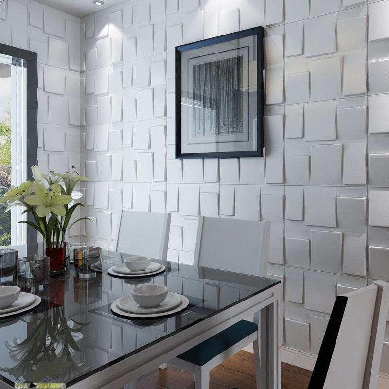 3D Faux Leather Square Wave Tile Panels