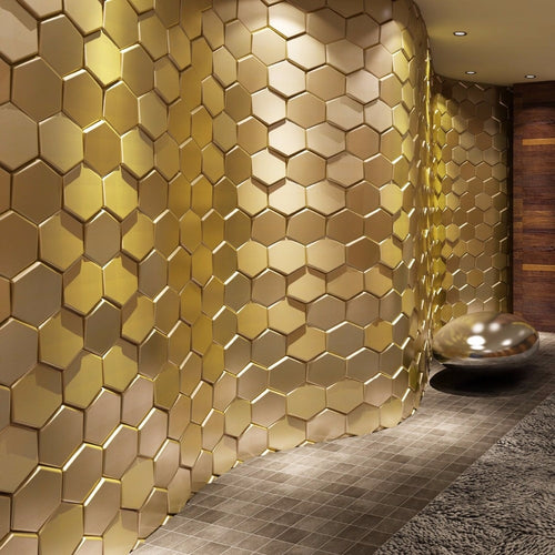 3D Faux Leather Golden Hexagon Wall Panels