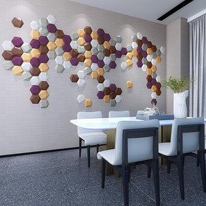 3D Faux Leather Multi-Color Hexagonal Wall Panels