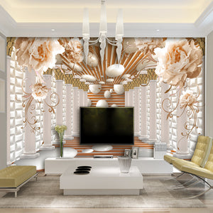 3D Wallpaper Art Rome Column Flowers