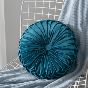 Velvet Pleated Round Pillow Cushion
