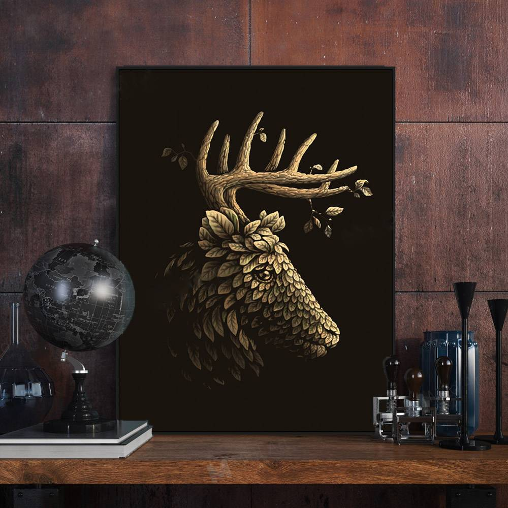 Gold Leaf Deer Head Canvas