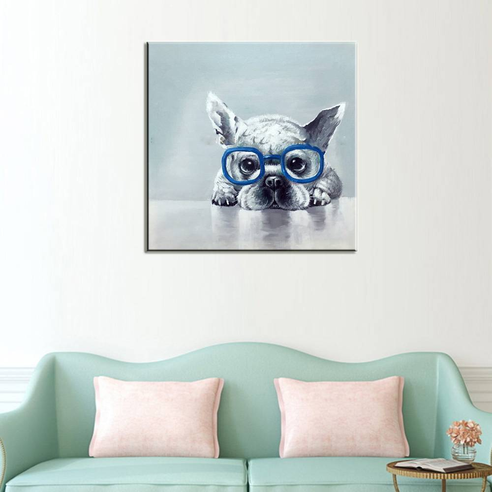 Blue Glasses Dog Oil Painting