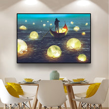 Load image into Gallery viewer, Boat and Moon Painting