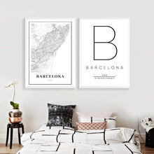 Load image into Gallery viewer, Barcelona Map Canvas Painting