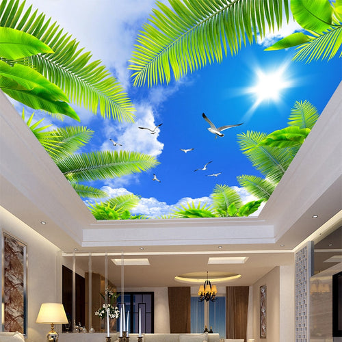 3D Blue Sky White Clouds Beach Tree Custom Wallpaper