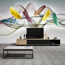 Load image into Gallery viewer, 3D  Wallpaper Hand Painted Colored Feathers Abstract