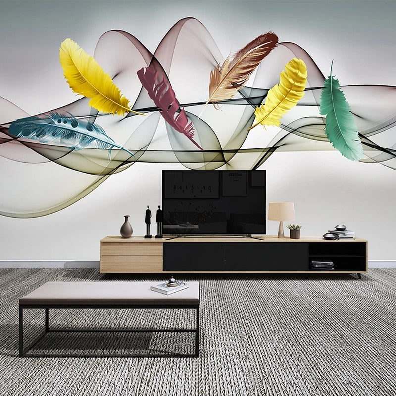 3D  Wallpaper Hand Painted Colored Feathers Abstract
