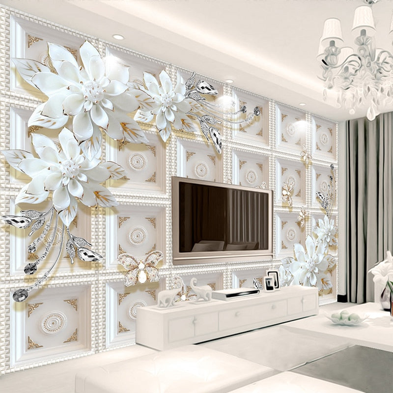 3D Wallpaper Jewelry Flowers