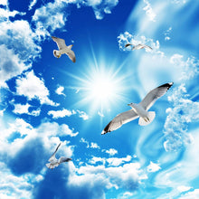 Load image into Gallery viewer, 3D Blue Sky White Clouds Dove 3D Wallpaper