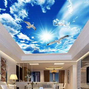 3D Blue Sky White Clouds Dove 3D Wallpaper