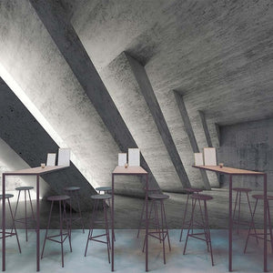 3D Wallpaper Cement Space Pillars