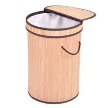 Load image into Gallery viewer, Round Bamboo Laundry Basket