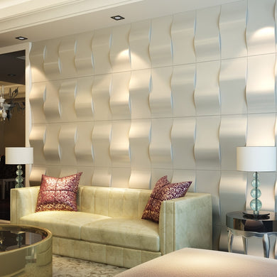 3D Faux Leather Wave Block Wave Tile Panels