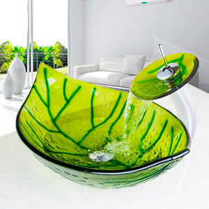 Hand Painted Green Leaf  Wash Basin