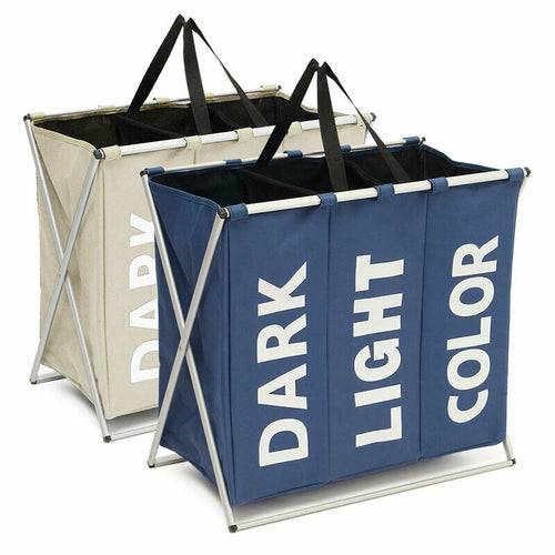 3 Section Folding Laundry Basket