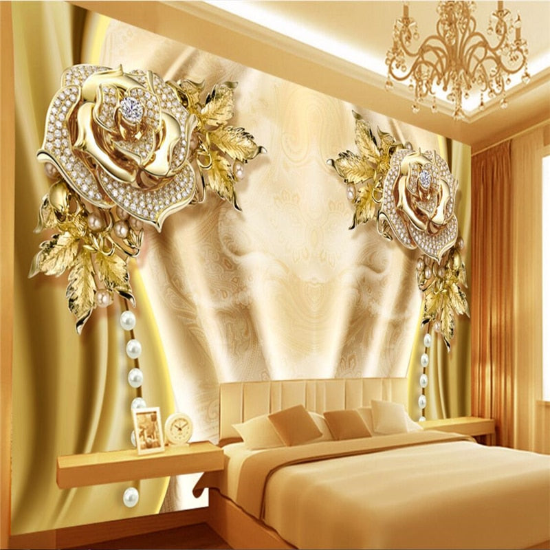 3D Wallpaper Jewelry Silk Mural