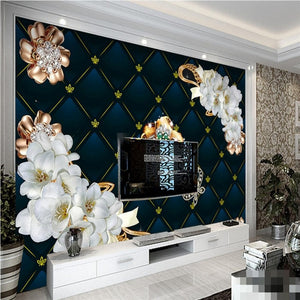 3D Wallpaper Jewelry Diamond Flowers