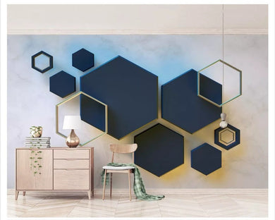 3d Wallpaper Hexagonal Mosaic