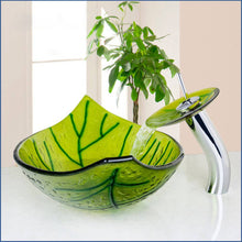 Load image into Gallery viewer, Hand Painted Green Leaf  Wash Basin