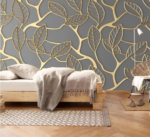 3D Wallpaper Embossed Golden Leaves Mural