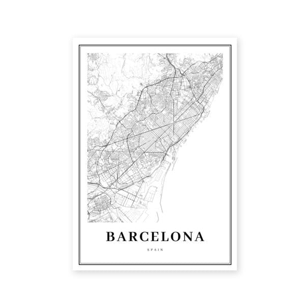 Barcelona Map Canvas Painting