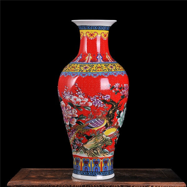 Red Peony Ancient Palace Vase