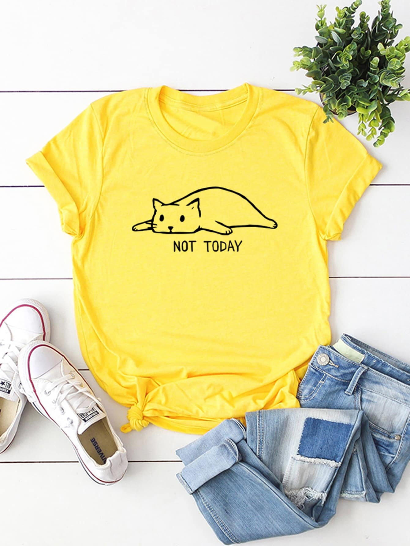 b41be2288 Cat And Letter Print Tee – TEESLIKETHESE