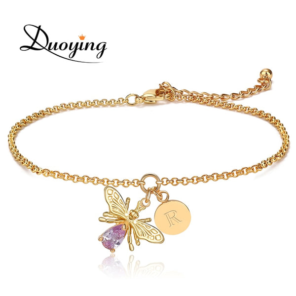 Duoying Bee Peraonalize Initial Letter A-Z bracelet for women Chain link  Tiny disc Bracelet Etsy Supplier Dropshipping