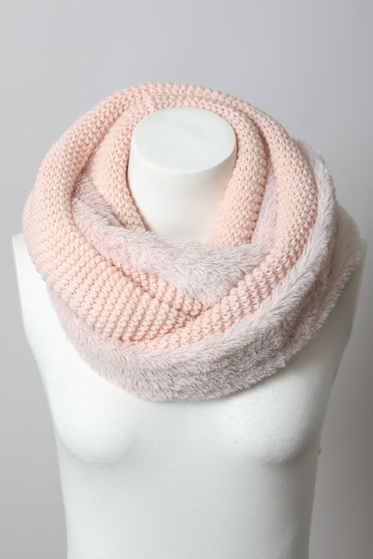 Knit Infinity Scarf with Faux Sherpa Lining - Gift Shop Wrought 'n Apples