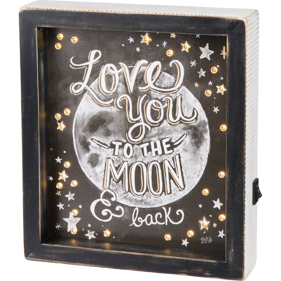Love you to the Moon and Back LED chalk sign - Gift Shop Wrought 'n Apples