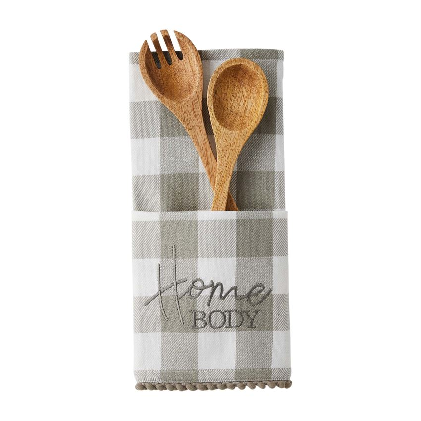 Towel and Mango Wood serving set