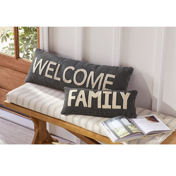 Welcome and Family Pillow - Gift Shop Wrought 'n Apples